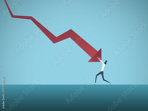 Fotomural  Bankrupt businesswoman pushed by downward arrow vector concept