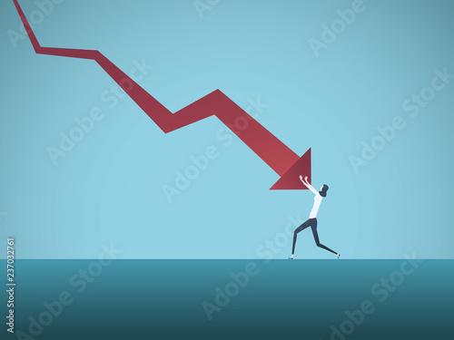 Cuadros en Lienzo Bankrupt businesswoman pushed by downward arrow vector concept