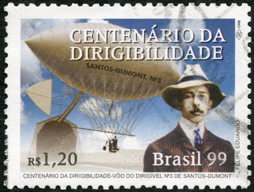 BRAZIL - 1999: shows Flight of Alberto Santos-Dumont (1873-1932) and his Dirigible Number 3, Century