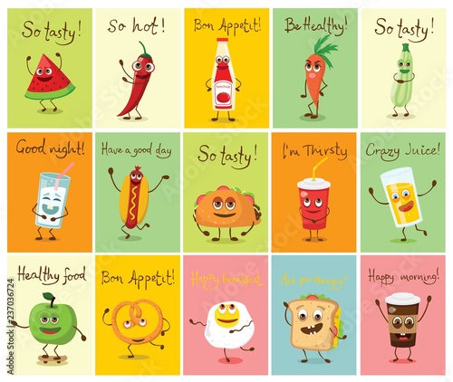 Cartoon cards with funny food characters vector ...