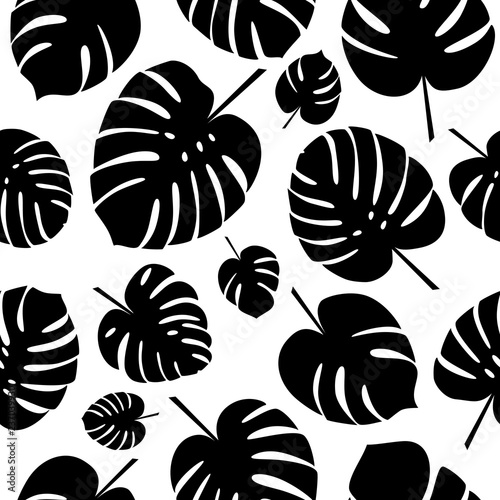 Black And White Tropical Leaves Seamless Pattern Silhouettes Of Monstera Leaf On White Background Vector Illustration Buy This Stock Vector And Explore Similar Vectors At Adobe Stock Adobe Stock Free for commercial use no attribution required high quality images. black and white tropical leaves