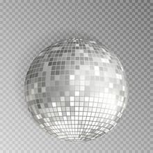 Glitter Disco Ball Vector. Silver Mirrorball Isolated. Discoball Shine Light Effect. Night Club Deco