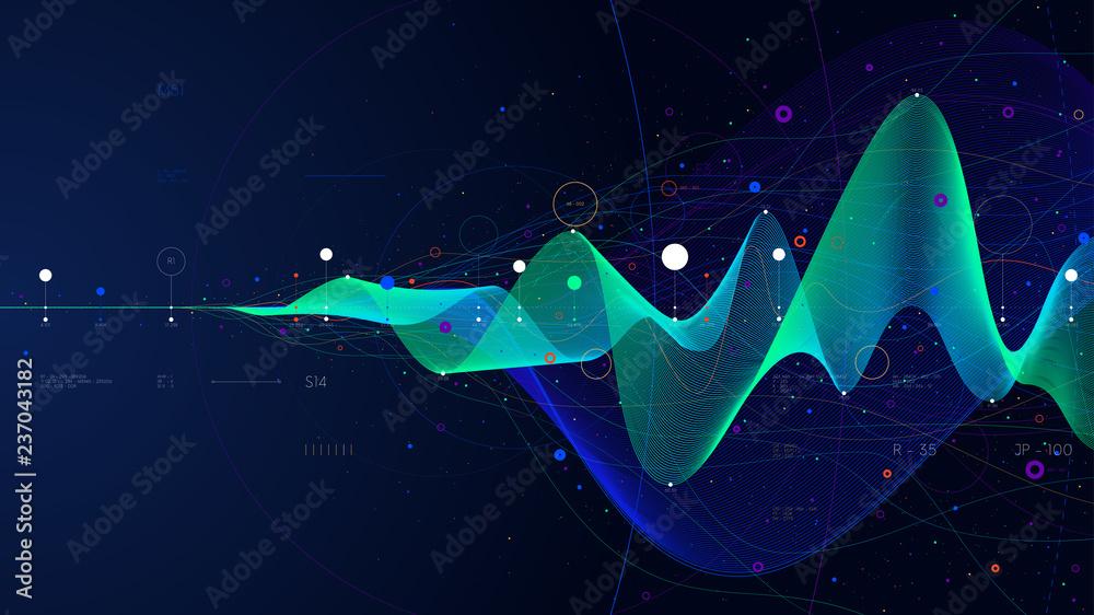 Fototapety, obrazy: Big data stream futuristic infographic business analytics presentation, vector illustration