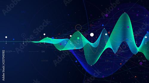 Cuadros en Lienzo Big data stream futuristic infographic business analytics presentation, vector i