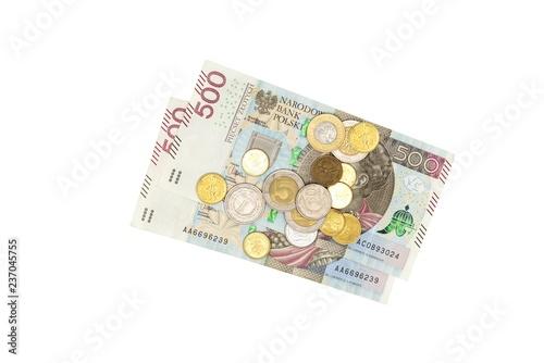 Fotografia  Polish banknotes PLN 500 and small coins