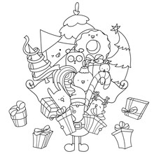 Christmas Doodle Coloring Page. Santa With Gifts And Kawaii Animals. Christmas Tree And Decorations. Easy To Change Colors, Vector Illustration.
