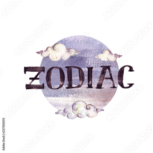Zodiac - Writing on white background. Watercolor Illustration