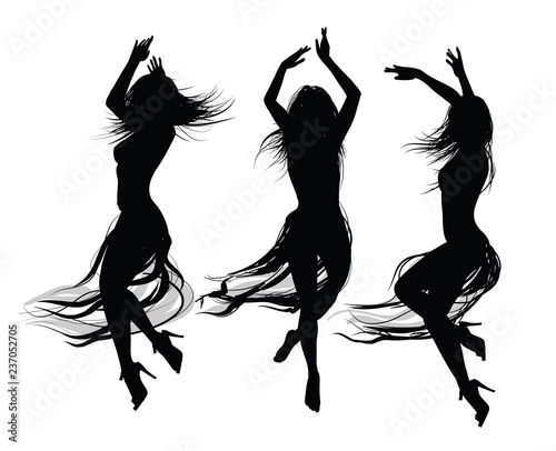 Spoed Foto op Canvas Art Studio group of girls dancing and jumping