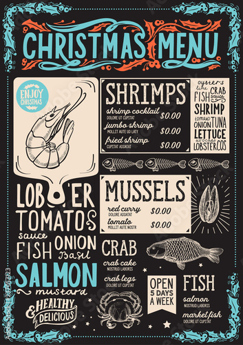 Christmas menu for seafood restaurant, food template. © marchiez