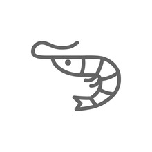 Simple Shrimp Line Icon. Symbo...
