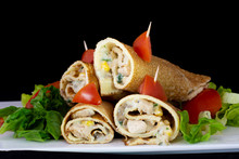 Chicken Pancake With Salad Inside With Isolated Black Background