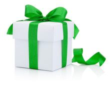 White Gift Box Tied Green Ribb...