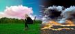 Umweltkonzept: Frau sitzt auf einer grünen Wiese mit rosa Wolken. Hinter ihrem Rücken verbrennen die Felder und der Himmel ist schwarz.