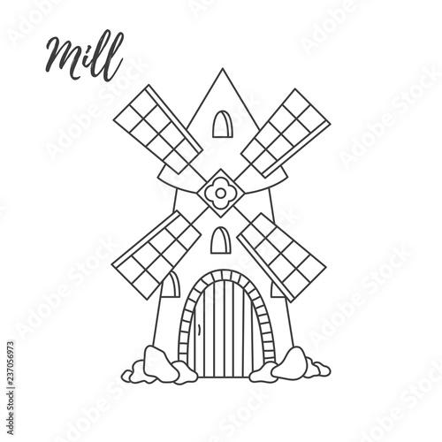 Carta da parati Old mill doodle cute  line vector icon
