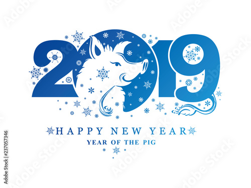Fototapeta Year of the Pig. 2019. Blue New Year pattern 2019 and smiling boar head and snowflakes. Vector template New Year's design on the Chinese calendar.  obraz na płótnie