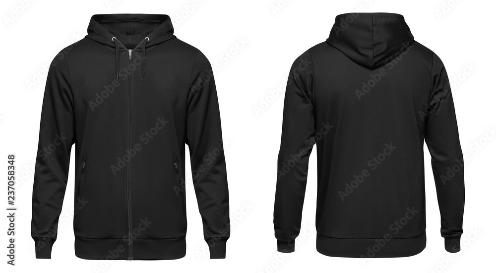 Fototapeta Blank black male hooded sweatshirt long sleeve with clipping path, mens hoody with zipped for your design mockup for print, isolated on white background. Template sport winter clothes