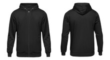 Blank Black Male Hooded Sweatshirt Long Sleeve, Mens Hoody With Zipped For Your Design Mockup For Print, Isolated On White Background. Template Sport Winter Clothes