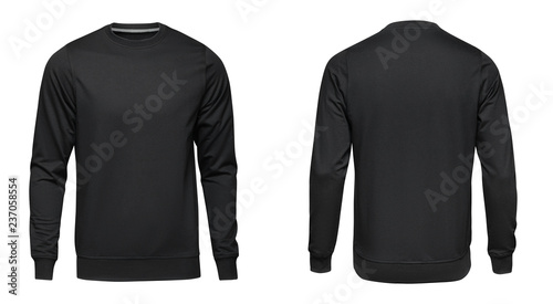 Платно Blank template mens black pullover long sleeve, front and back view, isolated on white background with clipping path