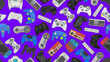 canvas print picture - Video game controller background Gadgets seamless pattern