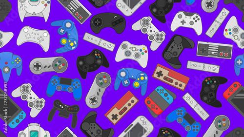 Fotografía Video game controller background Gadgets seamless pattern