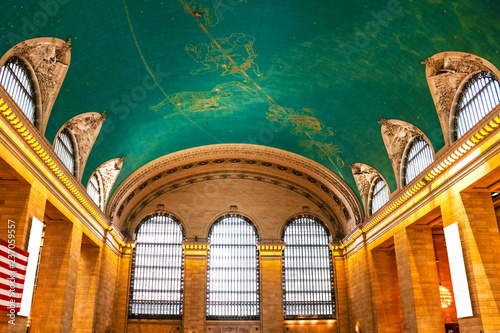 Photo  NEW YORK - AUGUST 26, 2018: star signs painted at the ceiling of Grand Central i