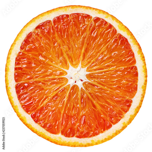 Top view of ripe slice blood red orange citrus fruit isolated on white background with clipping path
