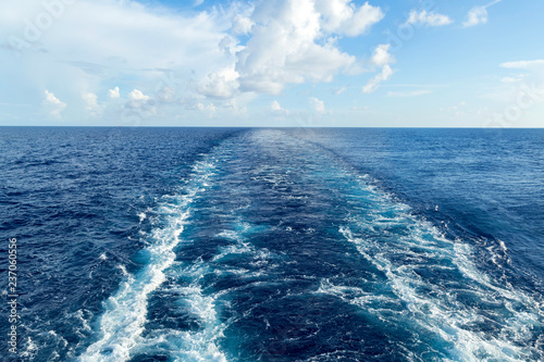 Fotografie, Obraz  Trace of the ship on the sea surface.