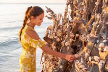 Beach Seashells Woman Putting ...