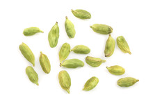 Green Cardamom Seeds Isolated On White Background. Top View. Flat Lay