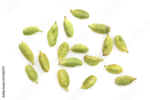 Fototapeta Green cardamom seeds isolated on white background. Top view. Flat lay obraz