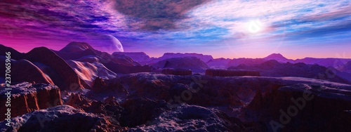 Poster Violet alien landscape, a panorama of a surface of another planet at sunrise,