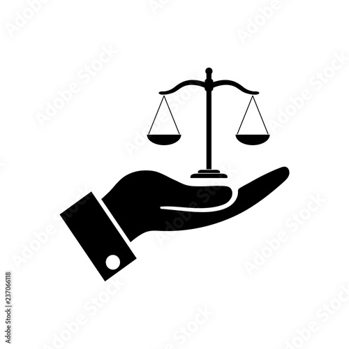 Fotografía  Hand holding Scales justice icon, logo on white background