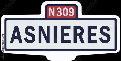 Photo ASNIERES - Ancien panneau entrée d'agglomération