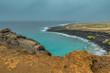coast of ocean with green sand beach