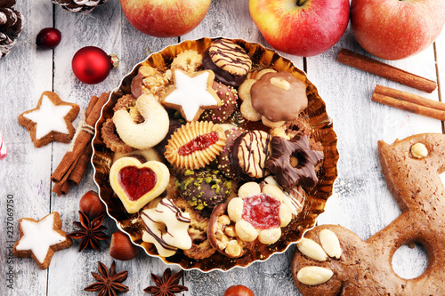 cookies, nuts and apples a christmas bakery concept