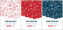 Merry Christmas And Happy New Year. Set Of Backgrounds With Hand-draw Christmas Doodle Elements. Vector Illustration.