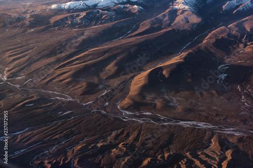 Poster Marron chocolat Aerial view of the Gobi Desert landscape, Mongolia