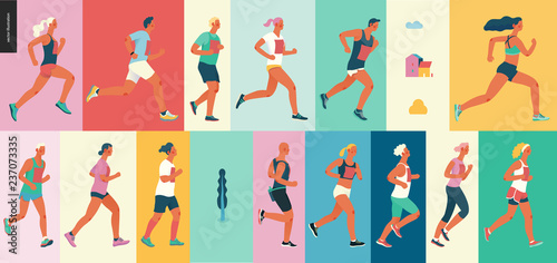 Marathon race group - flat modern vector concept illustration of running men and women wearing summer sportswer Fototapeta