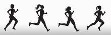 Silhouette Of Three Running Wo...
