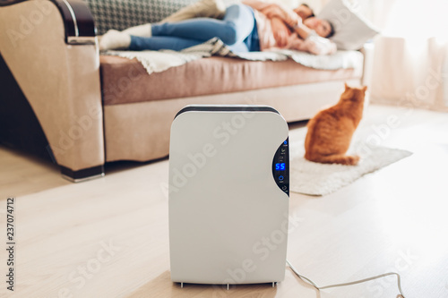 Dehumidifier with touch panel, humidity indicator, uv lamp, air ionizer, water container works at home. Air dryer