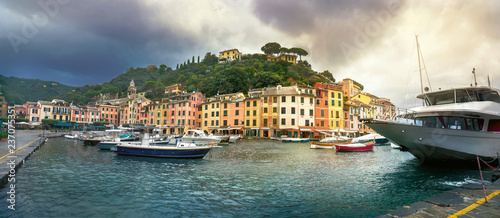 Canvas Prints Liguria Italian fishing village Portofino. Italian Riviera, Liguria, Italy