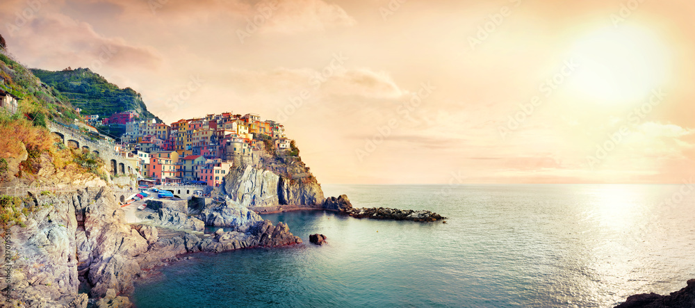 Fototapety, obrazy: Seascape with town on rock of Manarola, at famous Cinque Terre National Park. Liguria, Italy
