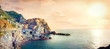 Leinwandbild Motiv Seascape with town on rock of Manarola, at famous Cinque Terre National Park. Liguria, Italy