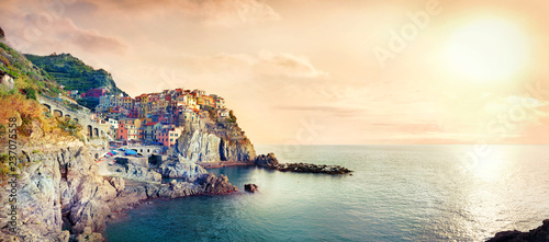 Poster Liguria Seascape with town on rock of Manarola, at famous Cinque Terre National Park. Liguria, Italy