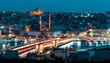 Galata bridge at night, Istanbul, Turkey