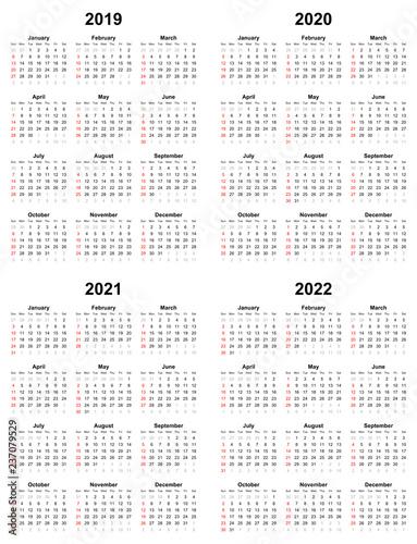 Annual plain calendar sunday first day 2022 2021 2020 2019   Buy