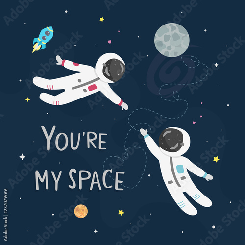 Slika na platnu Space love vector illustration