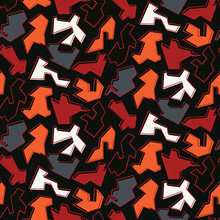 Multi Directional Abstract Shapes Seamless Vector Pattern. Random Jigsaw Mosaic Texture For Trendy Hipster Style Decor, Geometric Wallpaper, Masculine Backdrops. All Over Red Black Background Design.