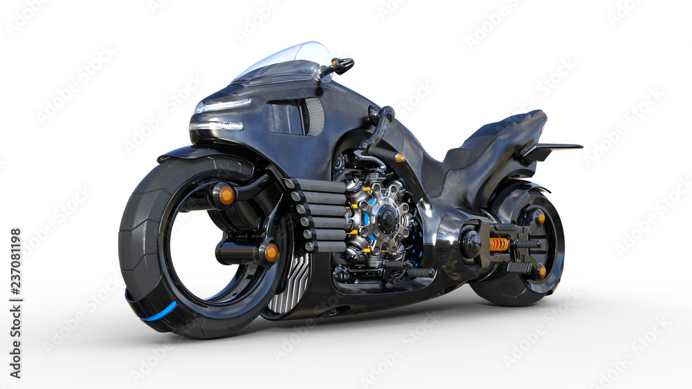 Fototapeta Bike with chrome engine, black futuristic motorcycle isolated on white background, 3D rendering