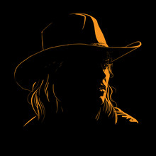 Girl With Cowboy Hat Silhouette In Contrast Backlight. Vector. Illustration.
